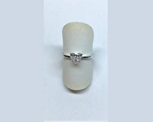 Brillant Herz Ring in Weissgold